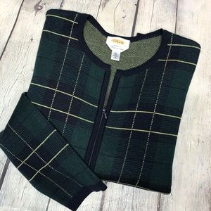 Talbots Merino Wool Plaid Zip Up Sweater Jacket